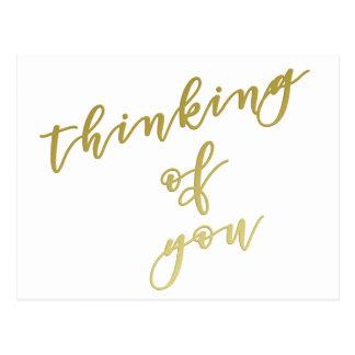 Cartão Postal O pensamento de você ouro do falso de | Script o