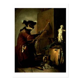 Cartão Postal O pintor do macaco, 1740 (óleo em canvas)