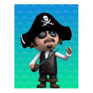 Cartão Postal o pirata 3d olha acima (alguma cor U como!)