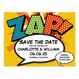 Cartão Postal O pop art da banda desenhada ZAP! Salvar a data