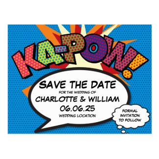 Cartão Postal O pop art KA-POW da banda desenhada salvar a data