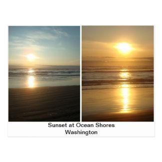 Cartão Postal O por do sol no oceano suporta Washington
