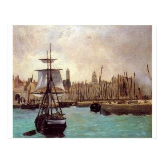 Cartão Postal O porto do Bordéus por Edouard Manet