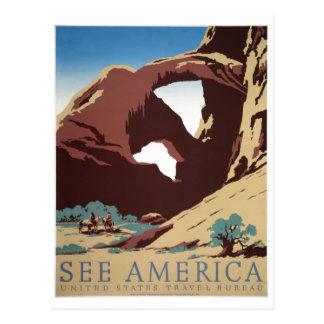 Cartão Postal O poster das viagens vintage de WPA vê arcos de