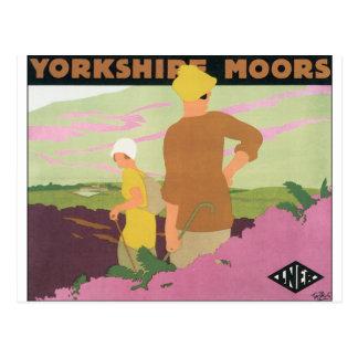 Cartão Postal O poster das viagens vintage para Yorkshire amarra