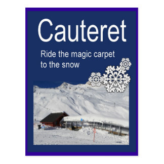 Cartão Postal O poster do esqui do vintage, Cauteret, monta o