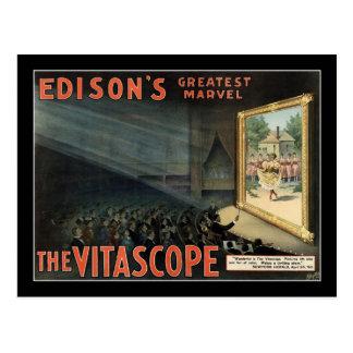 Cartão Postal O poster do teatro do vintage de Vitascope