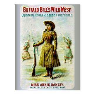 Cartão Postal O poster ocidental selvagem Annie Oakley de