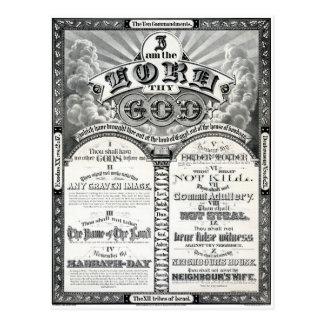 Cartão Postal O poster vintage 1876 de dez mandamentos