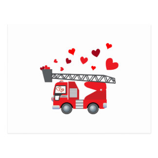 Cartão Postal O presente dos corações do Firetruck do dia dos