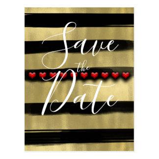 Cartão Postal O preto Glam moderno & os corações vermelhos do
