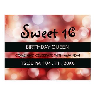 Cartão Postal O preto listra a festa de aniversário vermelha do