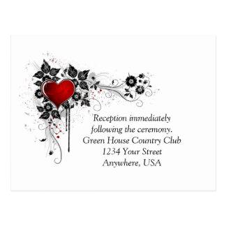 Cartão Postal O preto ornamentado do coração vermelho roda RSVP