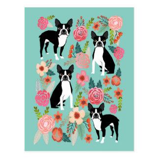 Cartão Postal O primavera de Boston Terrier floresce - o terrier