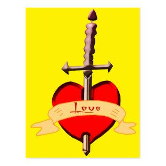Cartão Postal o punhal do amor perfurou o coração
