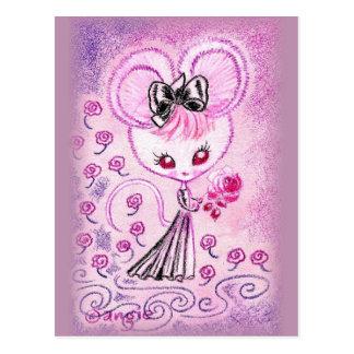 Cartão Postal O rato no vestido de noite preto com aumentou