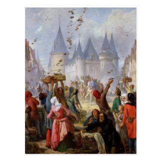 Cartão Postal O retorno de St Louis e Blanche de Castille