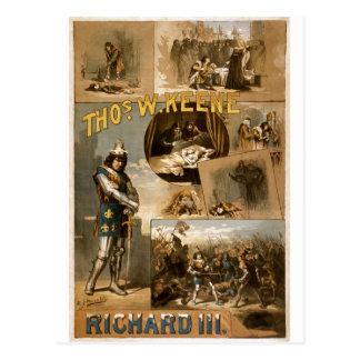 Cartão Postal O Richard III de William Shakespeare que anunciam