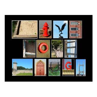 Cartão Postal O RISO VIVO do AMOR soletrou para fora com letras