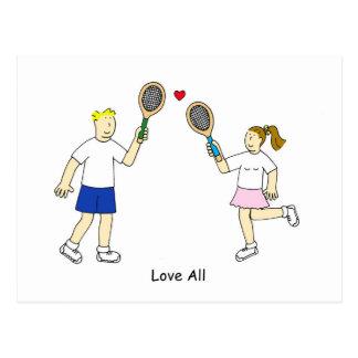 Cartão Postal O romance do tênis, ama tudo
