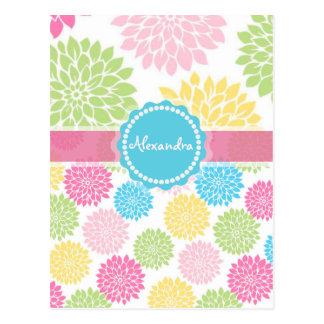 Cartão Postal O rosa Pastel, azul, dália amarela floresce o nome