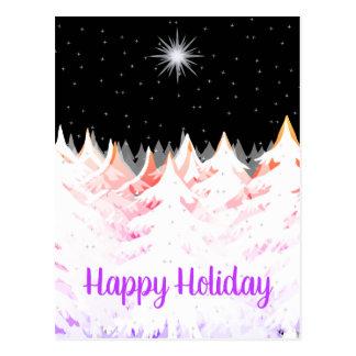 Cartão Postal O roxo alaranjado das árvores carregado da neve