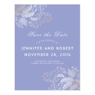 Cartão Postal O roxo da lavanda e a folha do ouro salvar a data