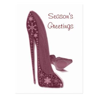 Cartão Postal O salto alto do estilete do Natal calça a arte