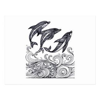 Cartão Postal O salto dos golfinhos