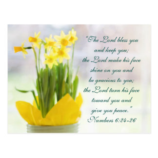 Cartão Postal O senhor Bênção Você Bíblia Verso, Daffodils