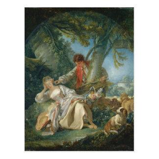 Cartão Postal O sono interrompido - François Boucher