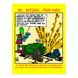 Cartão Postal O Sr. Skygack observa um automóvel quebrado