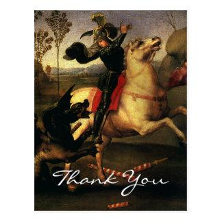 Cartão Postal O St George de Raphael que luta o dragão