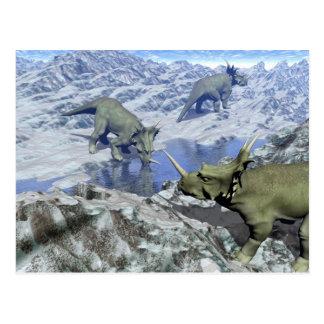 Cartão Postal O Styracosaurus perto da água 3D rende