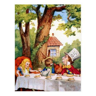 Cartão Postal O tea party do Hatter louco no país das maravilhas