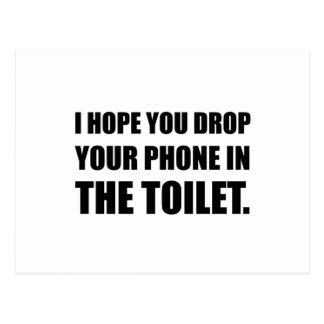 Cartão Postal O telefone cai no toalete