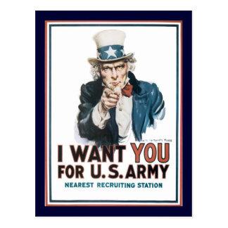 Cartão Postal O tio Sam quê-lo a guerra mundial 2