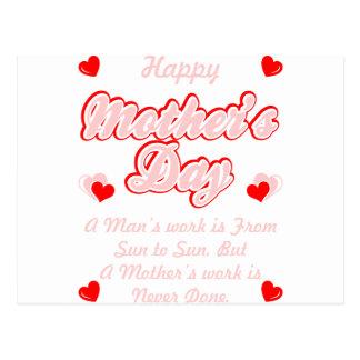 Cartão Postal O trabalho das mães do feliz dia das mães é nunca