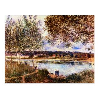 Cartão Postal O trajeto à balsa velha, 1880 por Alfred Sisley
