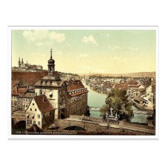Cartão Postal O tribunal, Bamberga, Baviera, vintage Pho de