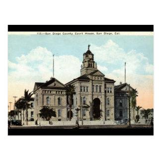 Cartão Postal O tribunal San Diego Califórnia 1921
