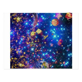 Cartão Postal O universo e os planetas comemoram a vida com um