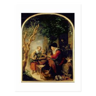 Cartão Postal O vendedor da panqueca, 1650-55 (óleo no painel)