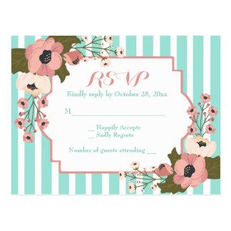 Cartão Postal O verde floral da hortelã de RSVP listra flores