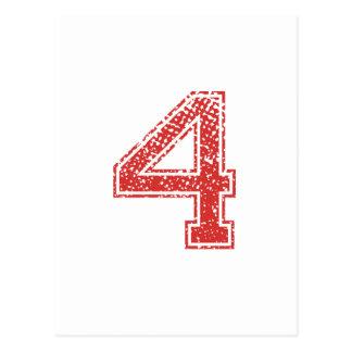 Cartão Postal O vermelho ostenta Jerzee número 4