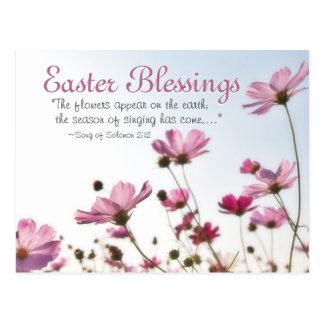 """Cartão Postal O verso da bíblia das bênçãos da páscoa """"as flores"""