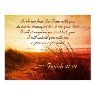 Cartão Postal O verso da bíblia do 41:10 de Isaiah não teme que