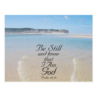 Cartão Postal O verso da bíblia seja ainda e saiba que eu sou