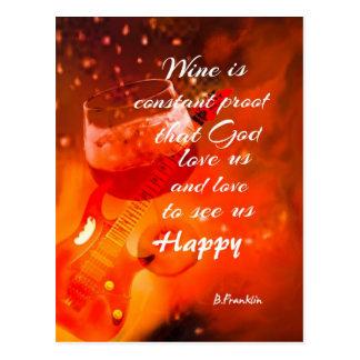 Cartão Postal O vinho faz-nos felizes