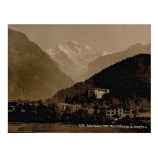 Cartão Postal O vintage, 1890, Interlaken e o Jungfrau variam